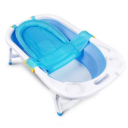 CRZDEAL Bañera Plegable para Bebé con Cojín Bañera de