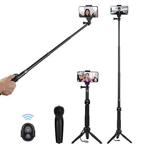 """Alfort Perche Selfie Trépied Portable Mini Trépied Perche Selfie Bluetooth avec Télécommande sans Fil pour iPhone 11 Pro/X/8/7/7 Plus/Galaxy S10/S9/Honor P20/Mate 10 etc, jusqu'à 5.5"""""""