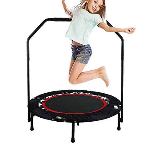 Bunao Portable & Foldable Fitness Workout Mini Rebounder Trampoline 40 Inch Max Load 300lbs with Adjustable Handrail for Indoor Garden Workout Cardio Exercise (Updated Red)
