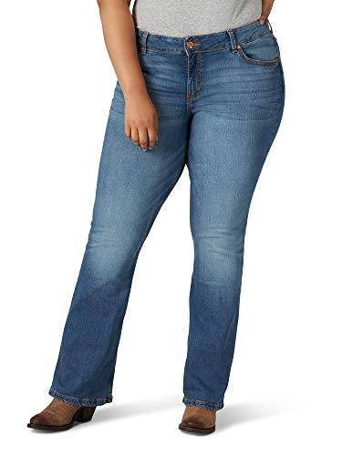 Wrangler Women's Retro Mae Plus Size Mid Rise Boot Cut Jean, Medium Blue, 18W x 32L