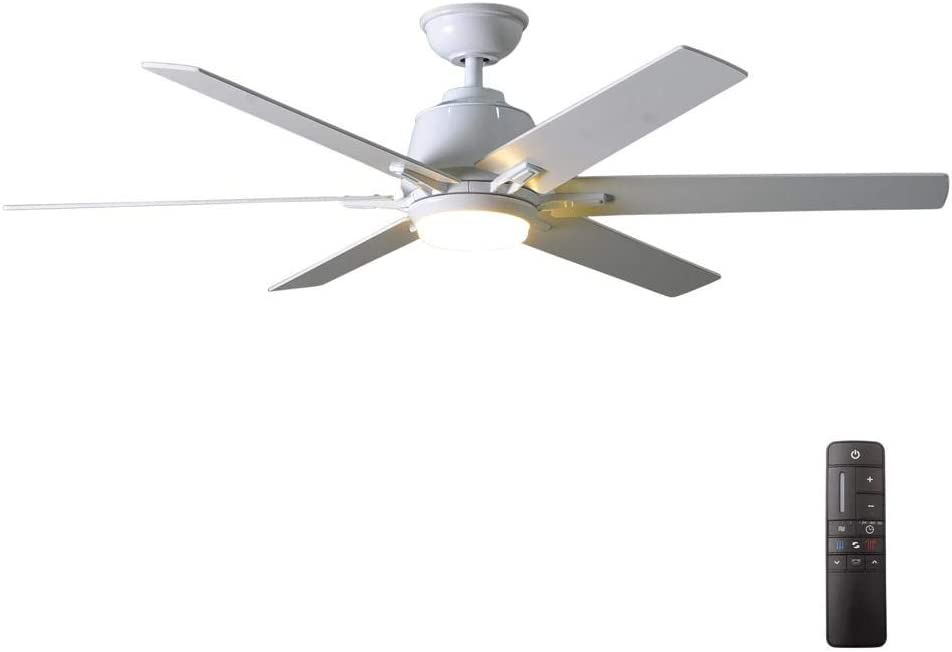 Kensgrove 54 in. Integrated LED Indoor White Ceiling Fan with Light Kit and Remote Control Control