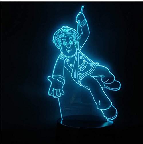 LED Illusion Nachtlicht 3D Anime Feuerwehrmann Sam Action Figure 3AA Batteriebetriebene Lampe Dekoration oder Sammlung 1St