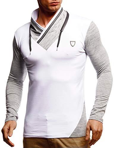 Leif Nelson Herren Sweatshirt Männer Langarmshirt Longsleeve Slim Fit Baumwolle-Anteil Basic Pulli weißes Sommer Pullover T-Shirt Langarm LN55125 Weiß X-Large