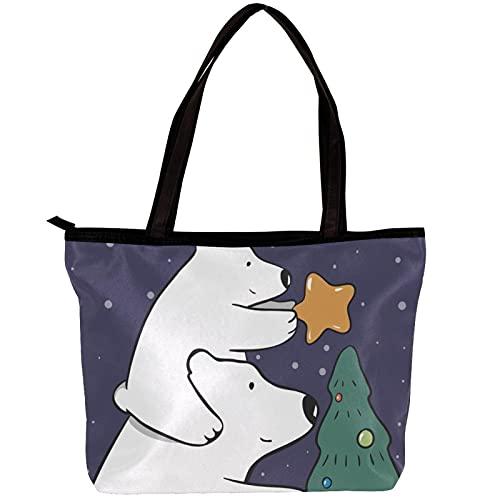 LORVIES - Bolso bandolera para mujer, diseño de oso polar, para mamá, bebé, árbol de Navidad, bolas de estrella, bolso para niñas
