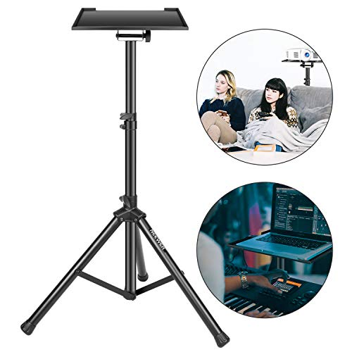 Neewer Deluxe 37.4'-58.7'/92cm-130cm Adjustable and Collapsible Heavy-Duty Laptop Stand with Solid Tripod Base and Non-slip Rubber Caps, Black