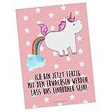 Mr. & Mrs. Panda Grußkarte, Geschenkkarte, Postkarte Einhorn Pupsend mit Spruch - Farbe Rot Pastell