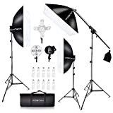 FOSITAN 3X 20'' x 28''Softbox Photography Lighting Kit, Boom Arm Headlight Lighting Kit with Sandbag, 2500W Continuous Lighting Kit with 2M Light Stand, Studio Lighting Kit with 11pcs Bulbs