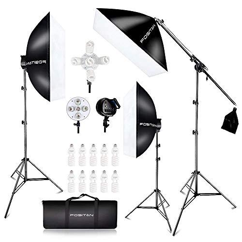 FOSITAN Kit d'Éclairage Studio 3X 20'' x 28'' Soft Box 11x45W Ampoules avec 3x2m Trépied et 1 Sac de Transport Kit Studio Photo avec Tige de Bras de Suspension