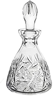 BOHEMIAN CRYSTAL GLASS DECANTER 7oz./200ml. HAND CUT HEAVY BASE OLD FASHIONED CLASSIC STYLE OIL or VODKA WHISKEY BRANDY LIQUEUR CARAFE VINTAGE DESIGN CZECH CRYSTAL GLASS