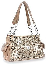 Taupe Starburst Concealed With Rhinestone Handbag