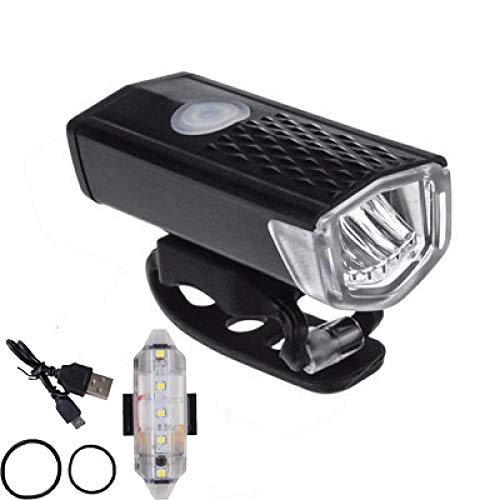 Fahrradlichter LED USB Wiederaufladbar 300 Lumen Fahrradbeleuchtung Frontscheinwerfer + Rücklicht Fahrradzubehör 2 Stück 222