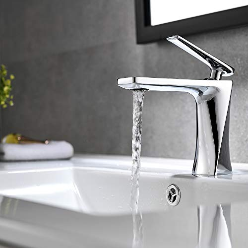 JOMOLA Bathroom Sink Faucet Single Handle Bathroom Faucets One Hole Deck Mount Lavatory Mixer Tap Wash Basin Faucet Brass, Chrome
