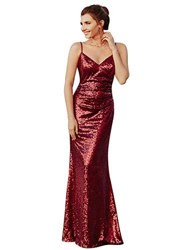 Ever-Pretty Vestito da Cerimonia Donna Sirena Paillettes Scollo a V Petto Basso Senza Maniche Stile Impero Lungo Borgogna 40