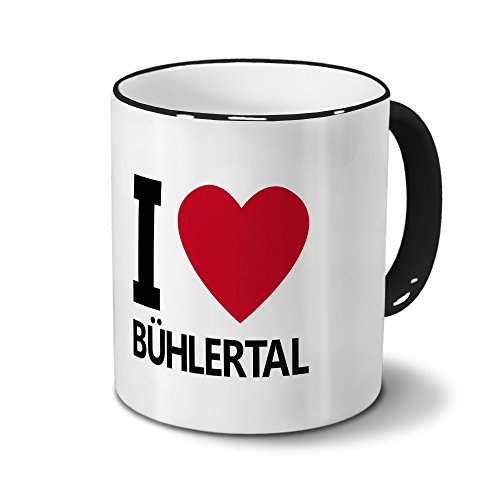 Städtetasse Bühlertal - Design I Love Bühlertal, Stadt-Tasse, City-Mug, Kaffeetasse - Becher Schwarz
