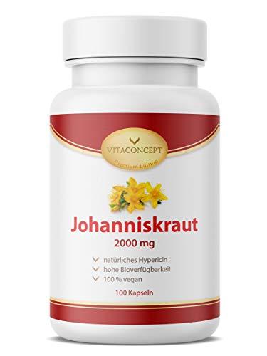 Johanniskraut I Der Vergleichssieger* I 500mg (4:1 Extrakt) entspricht 2000mg pro Kapsel I inklusive natürlichem Hypericin I 100 vegetarische Kapseln hochdosiert I Made in Germany I VITACONCEPT