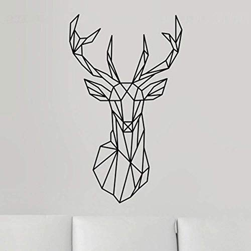 Wall Stickers Living Room Peel and Wall Stickers Removable Geometric Deer Head Wall Stickers Geometric Series Decals 3D Vinyl Art Stickers Home Decoration 58X98Cm