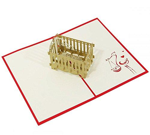 Babywiege - Klappkarte / 3D Pop-Up Karte - Glückwunschkarte zur Geburt, Grußkarte mit Baby im Kinderbett und Storch