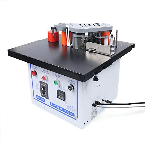 1200W Woodworking Edge Bander Banding Machine, Portable Curve Straight Edge Bander Double Side Gluing Banding Machine with Adjustable speed 0-7m/min, 110V