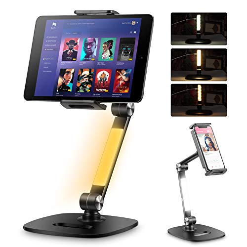ILOFRI Adjustable Tablet Stand, iPad Stand and Cell Phone Stand Holder Designed with LED,360° Swivel Cell Phone Clamp Mount Holder, 2-Stage Metal Arm Tablet Stand Compatible with 4-13' Phones/Tablets