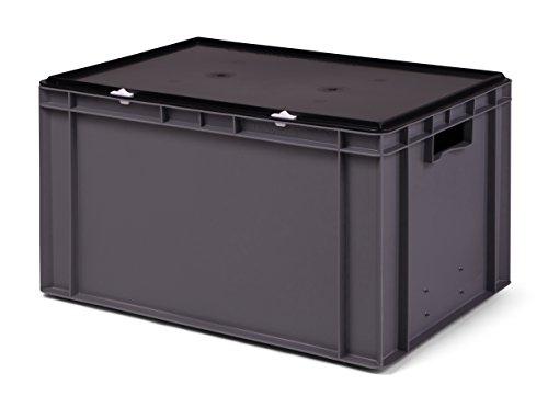 Transport-Stapelbox/Lagerbehälter grau, mit schwarzem Verschlußdeckel, 600x400x320 mm (LxBxH)