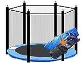 walexo Trampolin Randabdeckung + Sicherheitsnetz für 6 Stangensysteme (427 cm Ø, Blau/Schwarz)