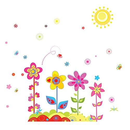 winhappyhome coloré fleurs Art Mural Stickers pour chambre d'enfants Salon Chambre fond amovible DIY Décor Nail Art