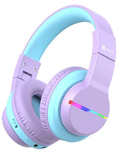 iClever Bluetooth Kinder Kopfhörer, Farbige LED-Leuchten, Kinderkopfhörer Over-Ear mit 74/85/94dB Lautstärkebegrenzung, 40 Stunden Spielzeit, Bluetooth 5.0, eingebautes Mikrofon BTH12