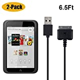 2-Pack Charger for Barnes & Noble Nook HD+ Plus (6.5ft/200cm),Mixtecc USB Power Data Sync Charging Cable for Nook Tablet Hd 7' Hd+ 9' BNTV400 BNTV600