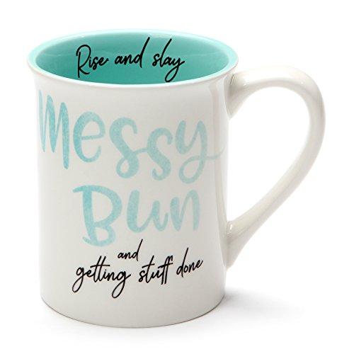 Enesco Our Name Is Mud Messy Bun Stoneware Mug 16 oz Teal