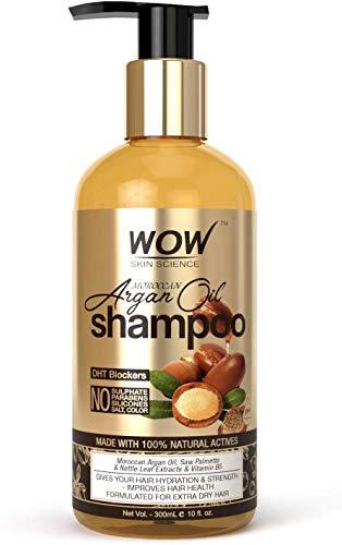 Glamorous Hub WOW Skin Science Champú de aceite de argán marroquí (con bloqueador de DHT) Sin sulfatos Parabenos Siliconas Sal y color 300 ml (El embalaje puede variar)