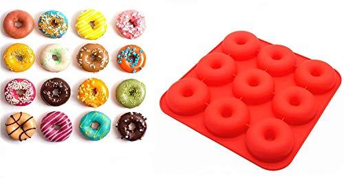 Moule à Donuts et Babas, HelpCuisine® Plateaux Décollable en Silicone pour Gâteau Chocolat Cupcake Muffins Anti-Chaleur (Silicone de très haute qualité 358 grammes)