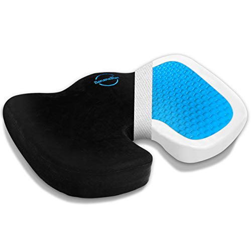 U-Shaped Pro Seat Cushion - 100% Memory Foam & Gel Orthopedic Pillow for Car, Office and Home Chairs - Relieves Coccyx, Tailbone, Sciatica, Back Pain, and Improves Posture. (Black)