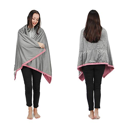 "Wearable Electric Blanket, Portable Poncho Wrap, Cordless Rechargeable Heated Shawl Blanket, Super Soft & Warm Fleece, Home Office & Travel Use, Machine Washable, Pink, 63""X35"""