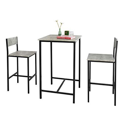 SoBuy OGT27-HG 3-teilig Bartisch mit Stühlen Esstisch Stehtisch Bistrotisch mit 2 Barhocker Sitzgruppe grau