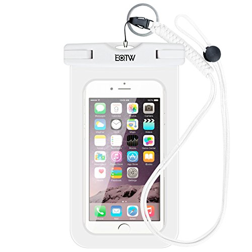 EOTW IPX8 Custodia Impermeabile Universale di 6 Pollici Cellulare,Subacqueo Impermeabile Waterproof Borsa per Rafting Kayak Canottaggio Pesca Sci iPhone Samsung Huawei Sony LG - Bianca