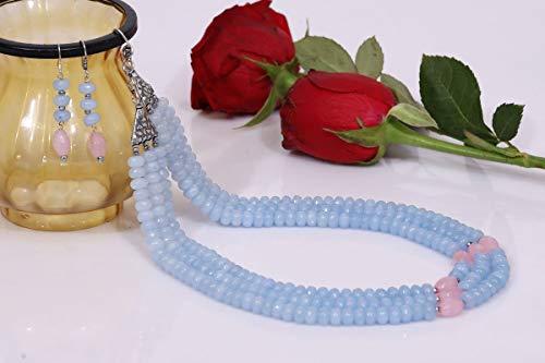 Divine Products India Tripple Line Light Blue Quartz Necklace Set
