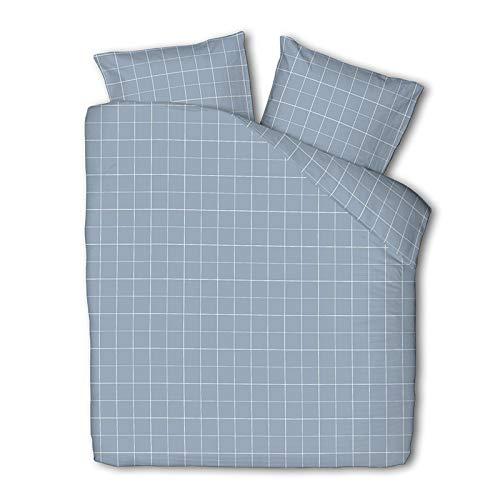 Dekbedovertrek Squared - Jeans Blauw - Eenpersoons 140x220 CM - Percal Katoen/Microvezel, Fresh & Co - Incl. 1 Kussensloop van 60x70 CM
