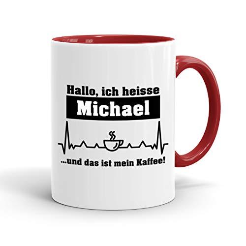 True Statements Tasse Hallo ich heisse Wunschname und das ist mein Kaffee personalisiert - personalisierte Kaffeetasse mit Wunsch-Name ? spülmaschinenfest ? tolles Geschenk zu Weihnachten, innen rot