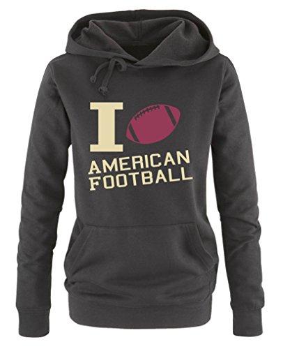 Comedy Shirts - I Love American Football - Damen Hoodie - Schwarz/Beige-Fuchsia Gr. M