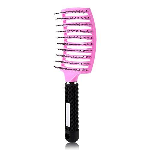 Cepillo para el cabello Peine de masaje para el cuero cabelludo Cepillo para el cabello de nailon Curvado y ventilado Cepillo para el cabello para desenredar las mujeres Cepillo(Rosado)