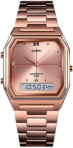 QHG Reloj de Lujo de la Marca de Lujo MOMEN CASAL MOMEN Reloj Digital Dual Tiempo DESPUÉS DE LOS Relojes Deportes DE Acero Cuadrada CUTOMA DE CUTOMA (Color : Rosegold)