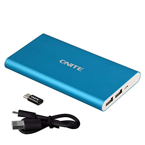 Onite 10000Mah External Battery Packs Power Bank for Samsung Galaxy S9, Note 8, S8, Plus, S7 S6 S5 S4 S3, J7 J5, LG Stylo 2 3, K7 K8, Rebel, V30 V20 G6 G5 G4 G3, Sony Xperia, Blue