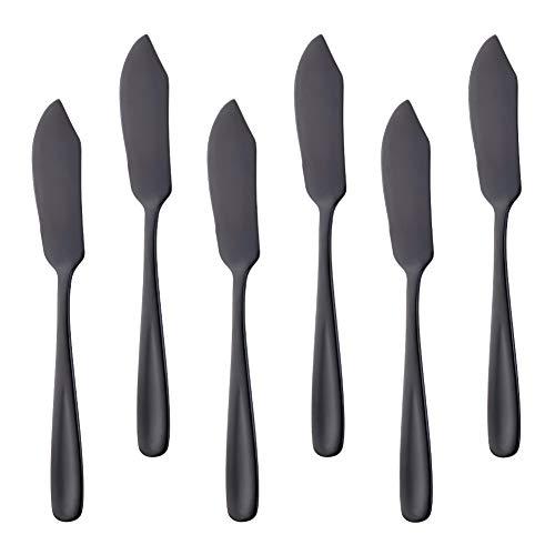 Buyer Star - Cuchillos para queso (acero inoxidable, 6 unidades) negro