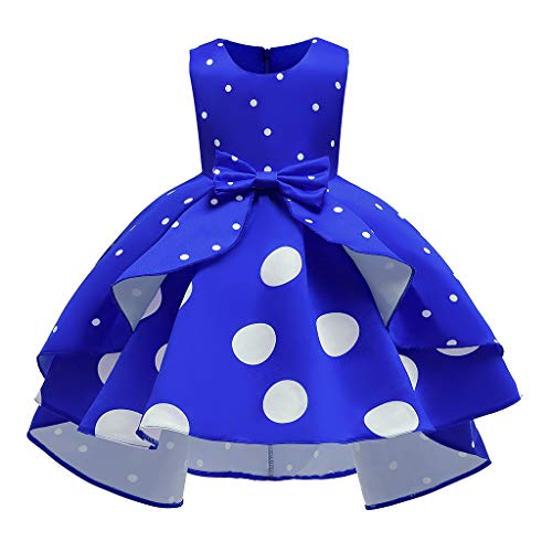 K-Youth Vestido de Fiesta Niña Navidad Disfraz Cóctel Vestidos para Ninas para Boda Medieval Lunares Tutú Princesa Vestido de Bautizo de Cumpleaños Chica Vestido Niña Ceremonia Ropa (Azul, 6-7 años)