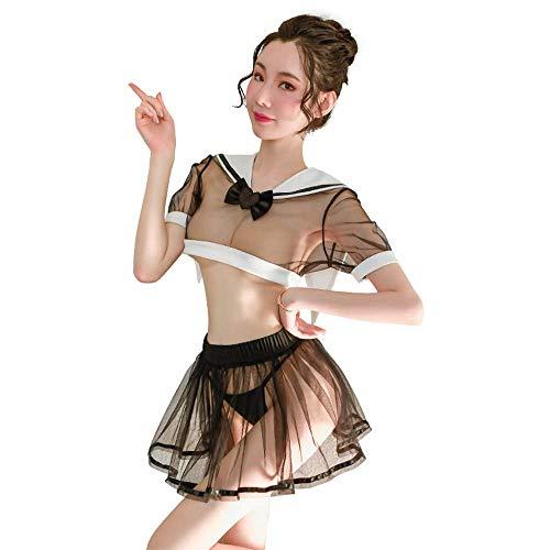 Disfraz sexy de colegio para mujer, disfraz de anime, cosplay, lencería japonesa, traje de dos piezas, Lolita Sailor, color negro