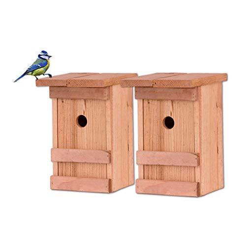 BigDean 2X Nistkasten Meisen Meisennistkasten Nistkästen Vogelhaus Vogelhäußchen Massivholz Vogelhaus 25 x 14,5 x 12 cm Einflugloch 28mm