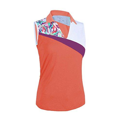 Monterey Club Ladies Dry Swing Water Fountain Contrast Coloblock Sleeveless Shirt #2345 (Peach Pink/White, Medium)