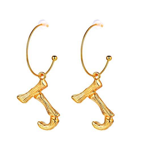 FOCALOOK Damen Ohrringe Gelbgold überzogen Buchstabe J Ohrhänger Coole Bambus Stil baumeln Ohrringe Groß Initiale Ohrschmuck für Frauen Mädchen, gold