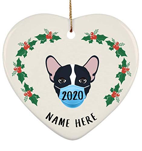 Lovesout Funny Personalized Name French Bulldog Black White 2 Quarantine 2020 Heart Ornament Christmas Tree