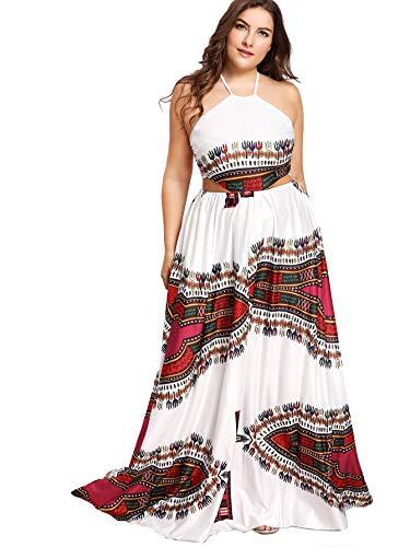 Floerns Women's Plus Size Dresses Summer Sleeveless Halter Neck Party Long Maxi Dress White-Plus 3XL